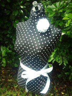 Polka dot Dress Form jewelry display with wood by reminiscejewels