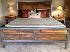 Repurposed Wood and Steel Bed by foundpurpose on Etsy, $1699.00
