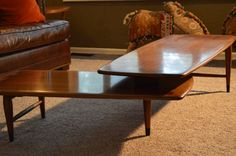 Lane Mid Century Table, Vintage Mid Century Danish Modern Lane swivel Boomerang dove tail surfboard coffee sofa table