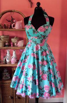 Roses & Afternoon Tea Sun Dress, Aqua & Pink (Original & Plus Size)