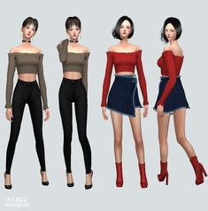 Female Crop Top The Sims 4 _ - Clove share Asia Marigold Sims 4, Scarf Top, Sims 4 Update, Sims 4 Cc Finds, Sims Mods, Sims 4 Custom Content, Sims Cc, Off Shoulder Tops, Crop Tops