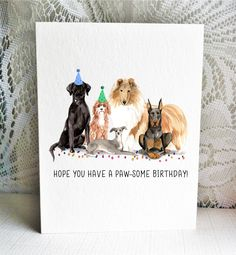 Available on Etsy, featuring a Black Labrador Retriever, Cavapoo, Rough Collie, Italian Greyhound / Whippet, and Doberman Dogs. By Driven to Ink.