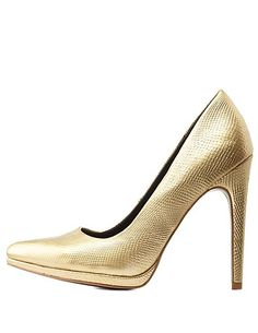 Metallic Python Pointed Toe Pumps: Charlotte Russe #gold #pumps