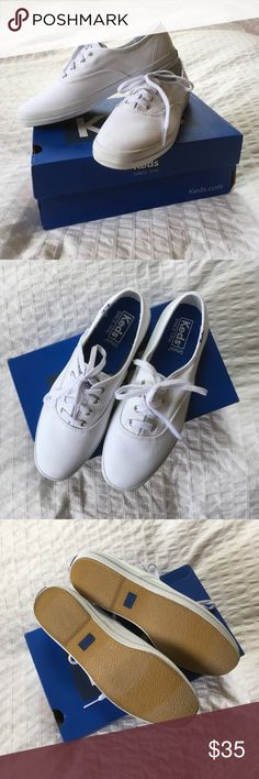 Keds Champion Shoes NWT Brand new in box Keds Champion in white. They are too big for me and I missed the return period, so I'm selling them here! Never wore them at all.   But I wear Keds all the time - they're classic, timeless, comfortable, and fashionable. Keds Shoes Sneakers