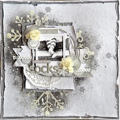 Kaisercraft DT - Christmas Socks (My Happy Scrap Space) Christmas Scrapbook Pages, Diy Scrapbook, Mixed Media Scrapbooking, Scrapbooking Layouts, Favorite Christmas Songs, Snowflake Cards, Shabby Chic Cards, Stamp Printing, White Christmas