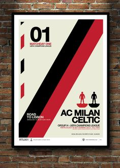AC MILAN. CELTIC. This A2 print marks the occasion when these 2 great clubs me in the Champions League. Designed by Social Recluse and inspired by football.. Subbuteo and Helvetica. A2 / A3 prints available at www.thetenten.co.uk