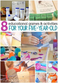 8 Educational Games And Activities For Your 8 Educational Games And Activities For Your These 8 awesome activities for your are sure to keep them entertained! Plus, they might learn a. Activities For 5 Year Olds, Indoor Activities, Toddler Activities, 5 Year Old Games, Preschool Learning, Early Learning, Kids Learning, Teaching, Kindergarten Art
