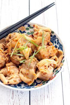 Sichuan Pork Wontons in Chili Oil Sauce (Hong You Chao Shou)