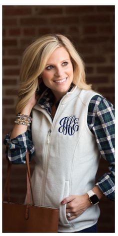 ed9bcc8ed60 Monogrammed Heathered Fleece Sleeveless Vest to wear over your favorite  shirt…