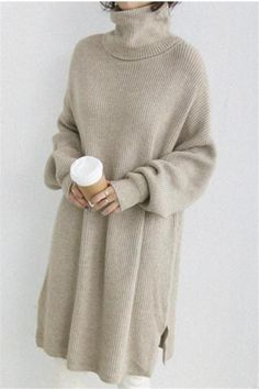 2019 New Stylish sheinstreet Women Fashion clothes Autumn And Winter Pure Color High Collar Loose Knitted Dress Buy Dress, Knit Dress, Sweater Dresses, Pullover Mode, Vestido Casual, T Shirt And Shorts, Women's Fashion Dresses, Fashion Clothes, Casual Dresses