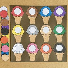 ice cream cone color match for preschool and kindergarten