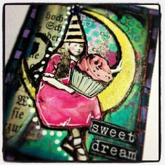 ATC  -moon collage sheet  -cupcake sticker  -hat collage sheet  all by Retro Cafe ART Gallery