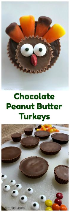 Last week I saw the cutest chocolate peanut butter turkeys for sale at a salon and I just had to make a batch for my family! So easy to make! Peanut Butter Cups, Chocolate Peanut Butter, Melting Chocolate, Holiday Recipes, Great Recipes, Holiday Foods, Thanksgiving Treats, Chocolate Peanuts, Candy Corn