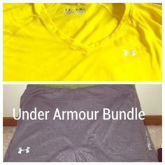 Under Armour Shirt and Short Combo Both size M. Shirt is yellow semi fitted tee. Shorts are size M. Neither have any signs of wear or tear. Smoke and pet free home. will list separately as well if needed Under Armour Tops Tees - Short Sleeve
