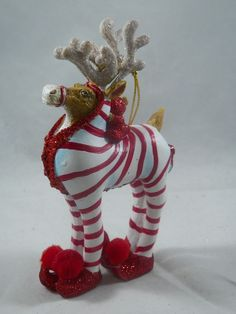 Red and White Striped Pajamas Reindeer Christmas Tree Ornament new holiday