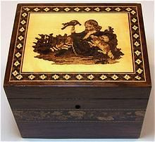 19th century Tunbridgeware tea caddy ... floral band, geometric border and picture in inlaid wood, c. 1850, UK