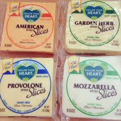 Follow Your Heart  Vegan Cheese Slices - American, Provolone, Mozzarella and Garden Herb