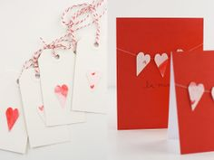 Watercolor Valentine hearts for gift tags and cards