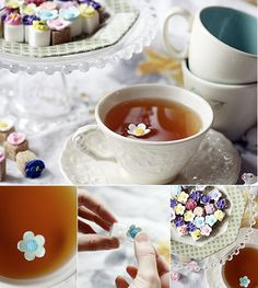 sugar cubes with little floating flowers on top