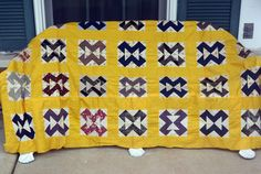 1970's Quilt Topper - UNUSED - Hand Made, Cotton, Yellow Navy Red - Vintage - Fabulous! by YPSA on Etsy