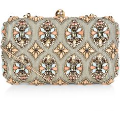 Accessorize Ava Hardcase Clutch Bag (€79) ❤ liked on Polyvore featuring bags, handbags, clutches, embellished handbags, white handbags, box clutch, hard clutch and metallic purse