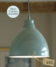 Harrow £65.00 Dome shaped pendant light, ideal for over your dining or kitchen table. Powder-coated steel available in 3 colours. Includes 1.5m braided cable