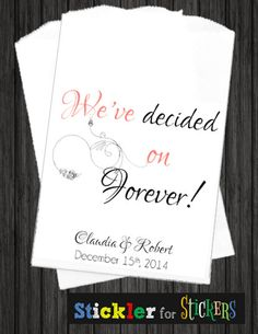 WKB33 - We've Decided on Forever! Thank You Wedding Kraft Candy Bags, Kraft Bags, Wedding Bags, Thank you candy bags, thank you bags, candy