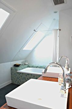 Gorgeous Attic remodel modern,Tiny attic apartment and Attic loft space. Attic Shower, Attic Bathroom, Upstairs Bathrooms, Shower Tub, Small Bathroom, Bathroom Ideas, Bathroom Sinks, Bathroom Curtains, Bathroom Designs