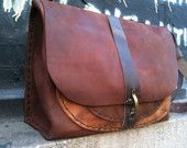Leather bag for lap tops handsewn by Aixa on Etsy