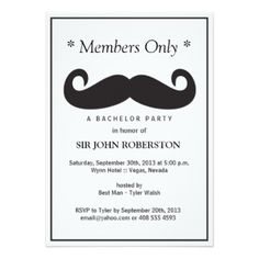 Members Only Bachelor Party Custom Announcements #membersonlyinvitation #custominvitation #Mustache #trendyinvitations #Mustacheinvitation #paperproducts #Uniqueinvitations