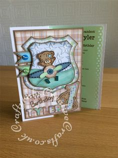 1st Birthday Card for a little boy, made using Trimcraft's Tiny Tatty Teddy 3d…