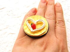 Kawaii Cute Japanese Food Ring Strawberry Crepe by SouZouCreations, $10.00