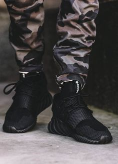 Black Tubular Doom × Camo Pants