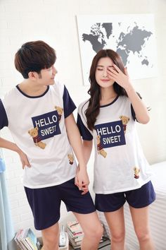 CC01629 Short sleeve milk silk summer pajamas thin couples shorts Couple Clothes, Couple Outfits, Cheap Clothes, Summer Pajamas, Milk, T Shirts For Women, Shorts, Couples