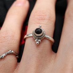 Sansa Black Onyx Sterling Silver Boho Ring