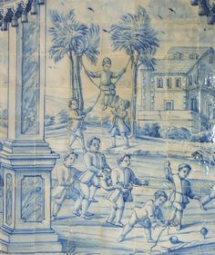 In one of the Salons, a blue tiled scene depicts children playing all kinds of games. We love the chairs on wheels. At the bottom left you can see a whipping top spinning.