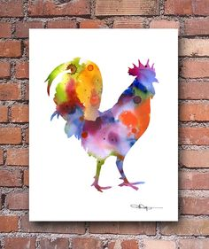 "Rooster Abstract Watercolor Painting 11"" x 14"" Art Print by Artist DJ Rogers"