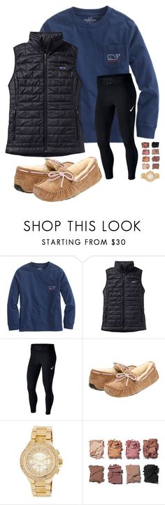 """preppy"" by booksinabluebox on Polyvore featuring Vineyard Vines, Patagonia, NIKE, UGG, MICHAEL Michael Kors and Illamasqua"