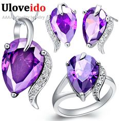 Uloveido Cubic Zirconia Vintage Necklace Earrings Ring Set Purple Accessories for Wedding Party Bijoux Silver Jewellery Set T067