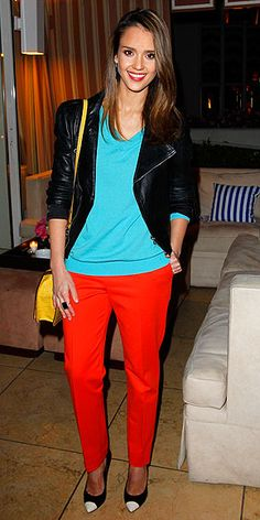 color block + black jacket + great heels. I would totally wear this