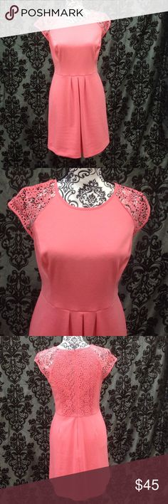 Lauren Conrad Coral Lace Bodice Dress Coral, Lauren Conrad, zip up back. Size 6, knee length, lace bodice. Capped sleeves. No flaws, has stretch LC Lauren Conrad Dresses Mini