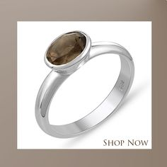 Genuine Smoky Quartz 10x14mm Pear /& .925 Silver Plated Handmade Solitaire Rings