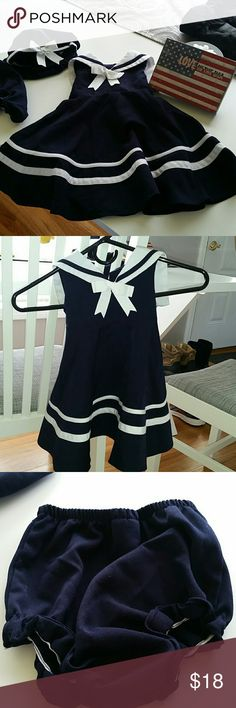 KIDS-18 mos. Sweet sailor dress w/hat and bloomers Sweet sleeveless sailor dress, navy blue and white. Comes with matching bloomers and beret style hat with ribbon. Three buttons down the back, and it ties in back. In good used condition. Rare Editions Dresses Casual