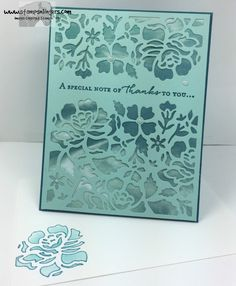 Die cut a Pool Party Panel with the Detailed Floral Thinlit and adhered over a Serene Scenery DSP panel.  Sentiment from Floral Phrases in Island Indigo.  For free instructions on how to make this card, please visit my blog at: https://stampsnlingers.com/2016/06/20/stampin-up-detailed-floral-phrases-thanks/