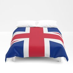 Uk Flag - Union Jack Authentic Color And Scale Duvet Cover by Is Modern Home Decor - Queen: x Uk Flag, Flags Of The World, Soft Duvet Covers, Union Jack, Twin Xl, Duvet Insert, Navy And White, Hand Sewing, United Kingdom