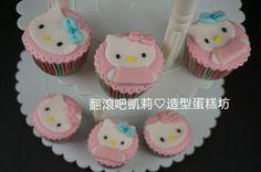 https://www.facebook.com/RollRollKelly #翻糖蛋糕 #kitty蛋糕 #杯子蛋糕 #kitty cupcake #kitty cake