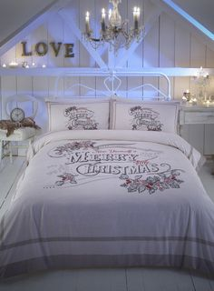 Vintage Christmas Word Brushed Cotton Bedding Set