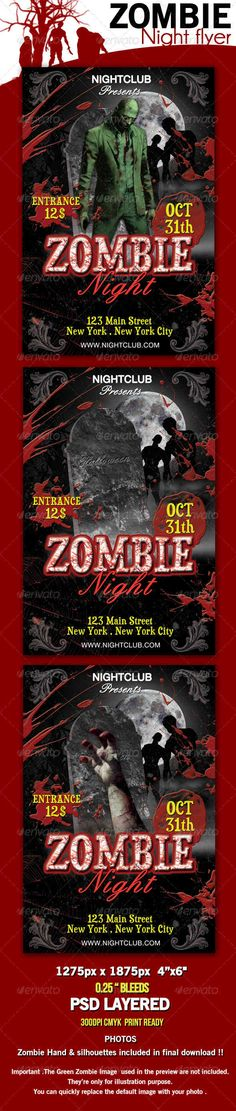 Zombie Halloween Party Zombie halloween party, Flyer template - Zombie Flyer Template