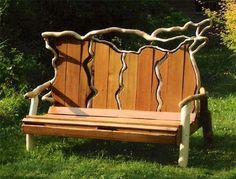 Driftwood bench - love it! You could use  repurposed pallets as well!