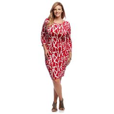 A Plus Style Women's Plus Size Red Love Graffiti Midi Dress